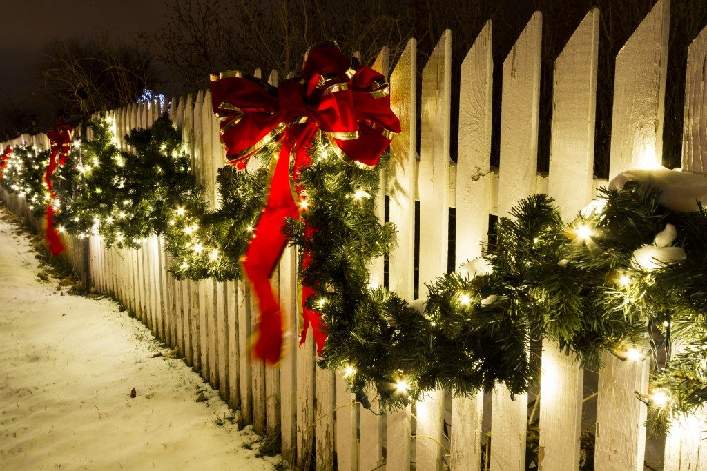wooden fence with christmas decors