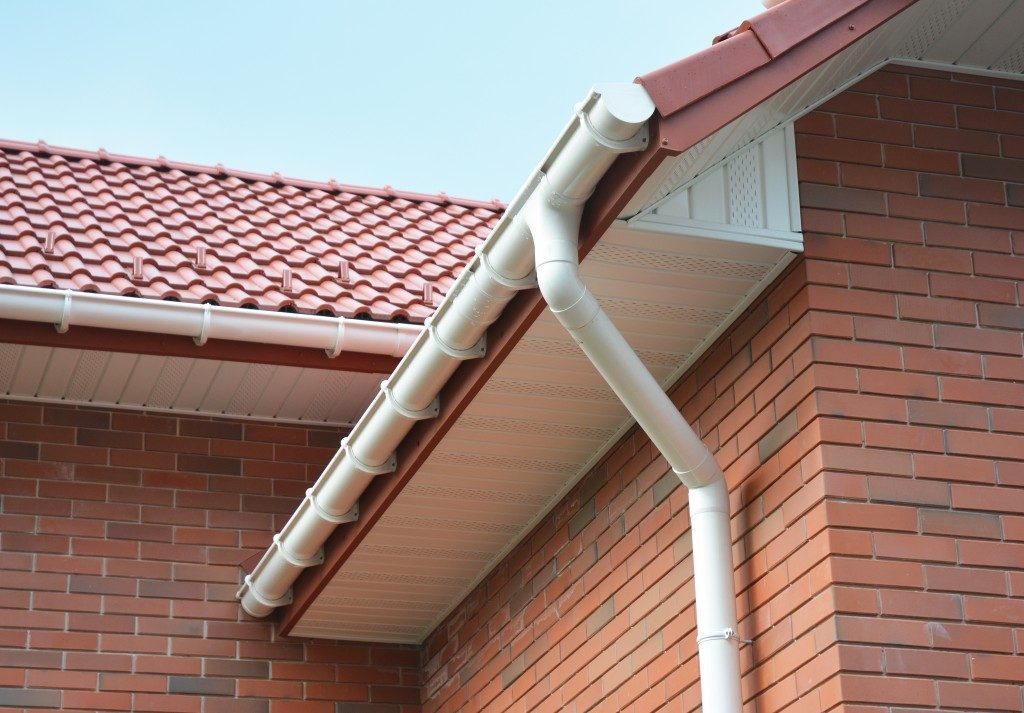 rain gutter on a home's rooftop