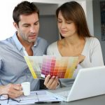 Couple choosing a paint color