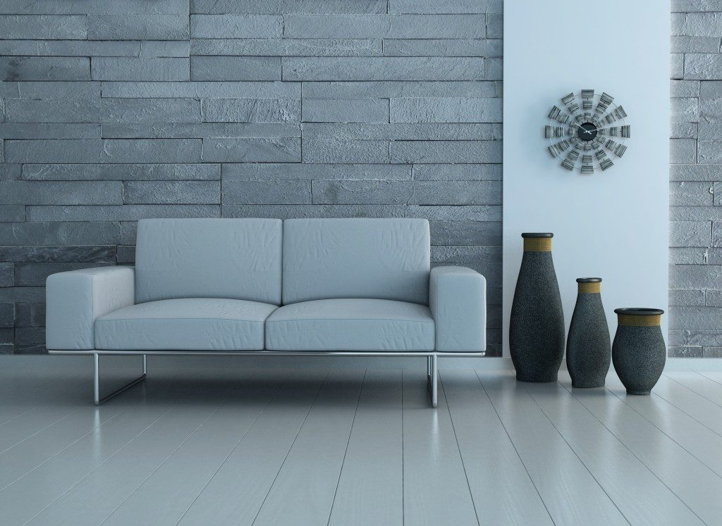living room in gray, white, and black concept