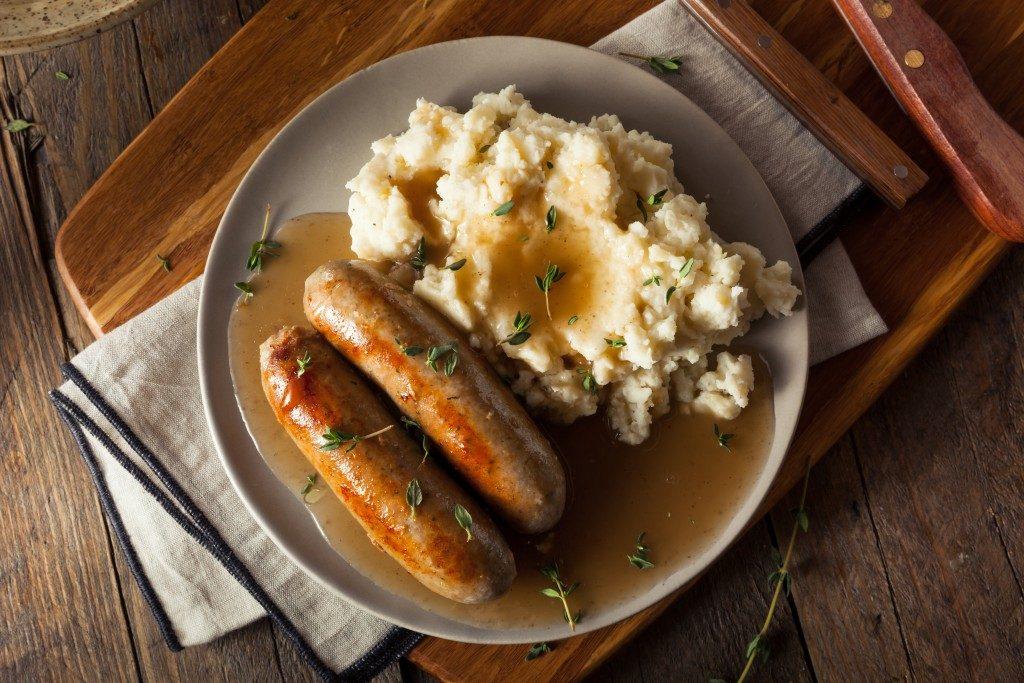 sausage and mashed potato meal
