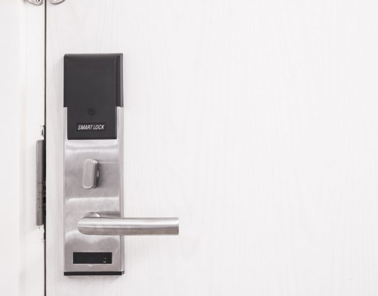 Electronic door lock installed in font door of a house