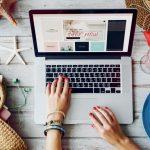 woman fixing her online shopping website