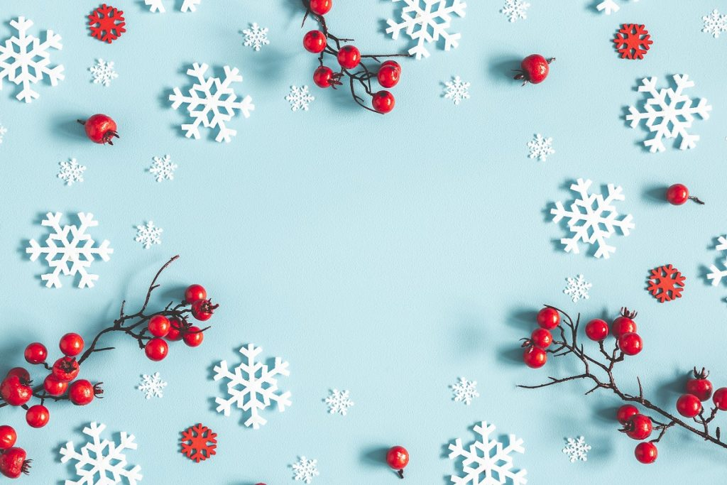 snowflakes and red cherries