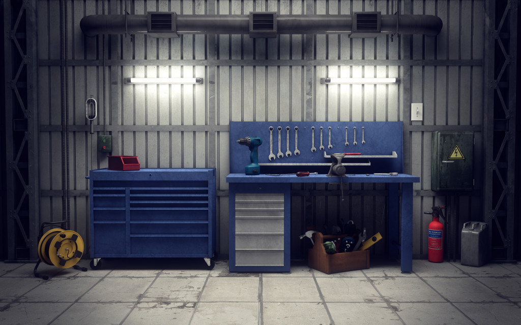 garage with tools