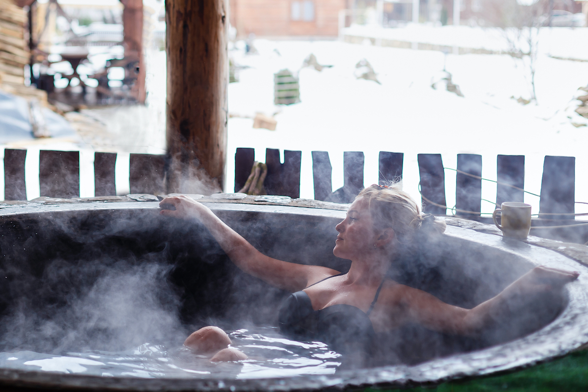 woman at a hot tub
