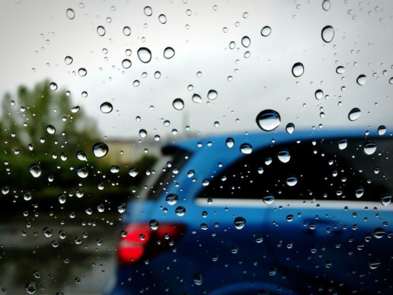 car window while raining