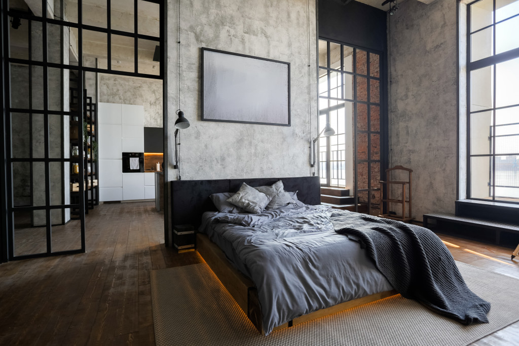 modern industrial interior bedroom