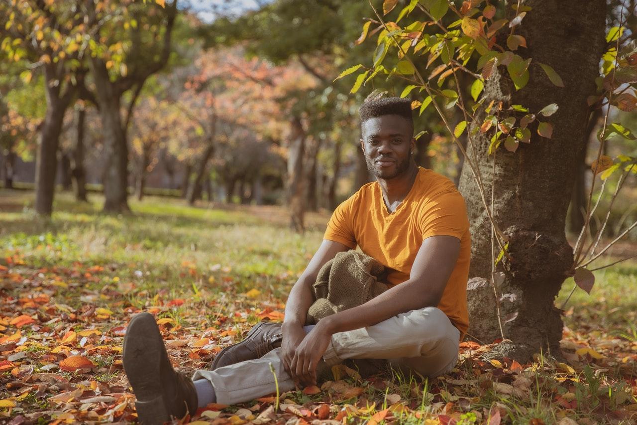 man sitting at a park