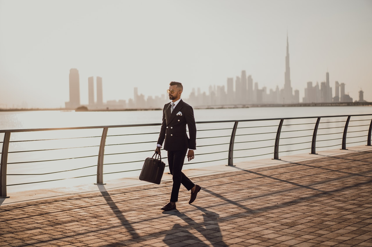 successful businessman walking