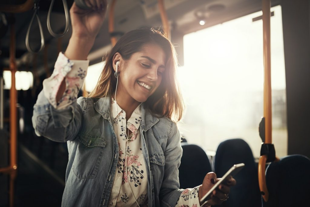 woman inside a train