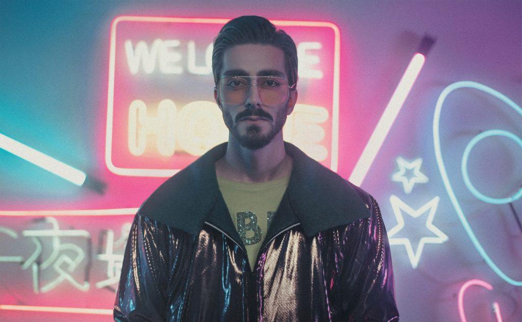 man in neon lights