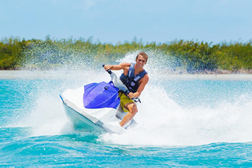 man riding a jetski
