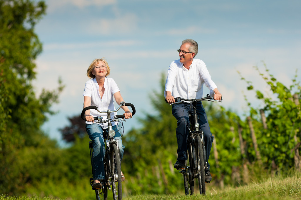 people riding a bike