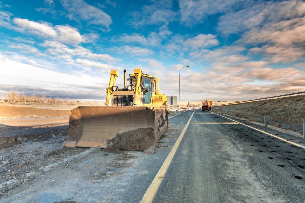bulldozer on the road