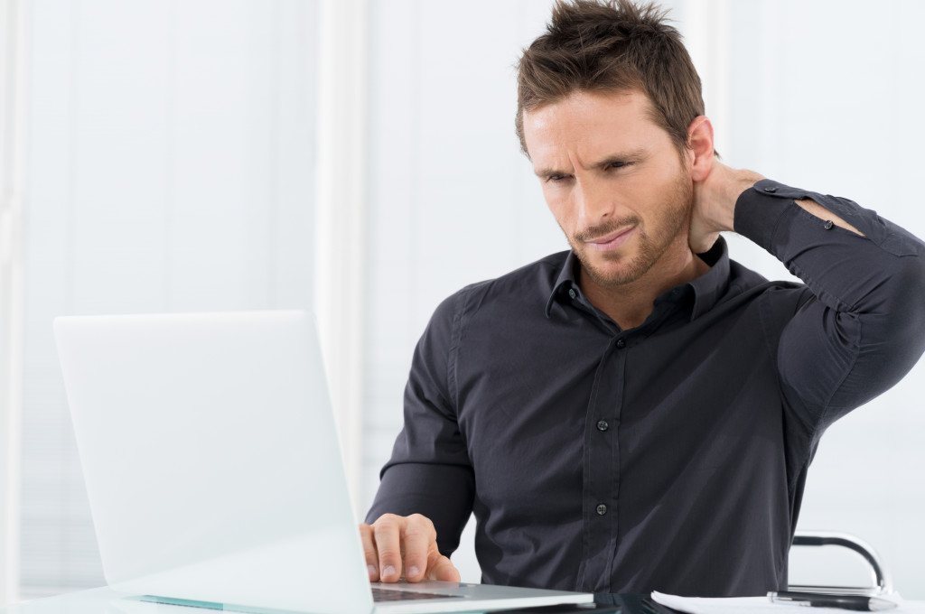 man affected by stress